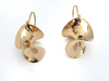 Circle Twist Earrings: 14k Yellow Gold Drop Twist Earrings