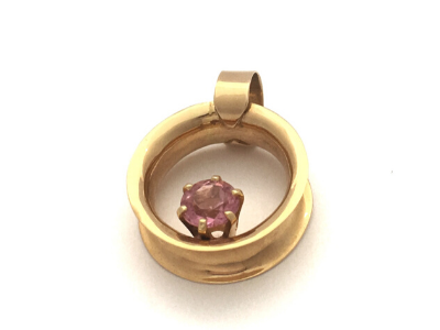 Summer Days: Pink Tourmaline 14k Gold Pendant