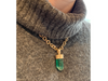 Sunday River: Blue Green Maine Natural Crystal Pendant 14K Yellow Gold