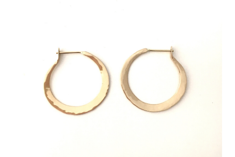 Hand-forged Self Locking Hoops 14K Gold