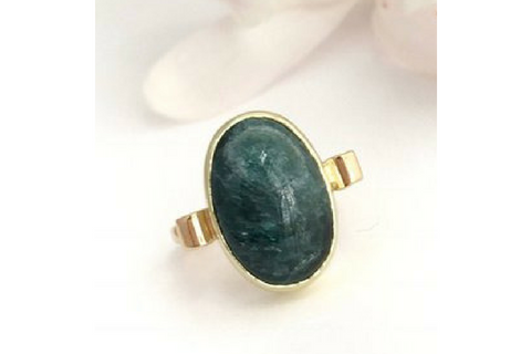 SOLD August Night in Maine: Blue Maine Tourmaline in 14k Yellow and Green Gold