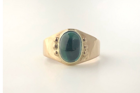 Blue Sebago: 14k Yellow Gold Tourmaline Ring