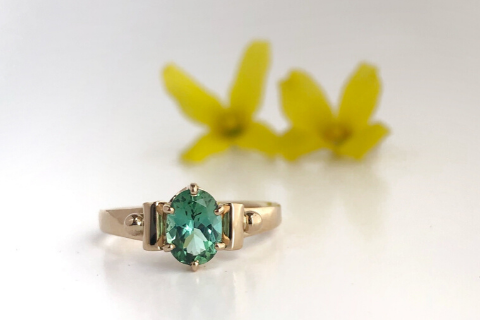 Northern Lights: Maine Green Tourmaline 14K Yellow Gold Ring