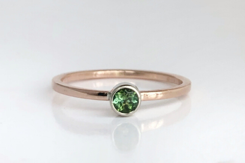 Pine Tree: Maine Green Tourmaline set in 14k Rose Gold