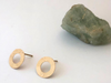 Textured Circle 14k Yellow Gold Post Earrings