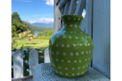Mini Green Polka Dot Vase by Lacey Pots