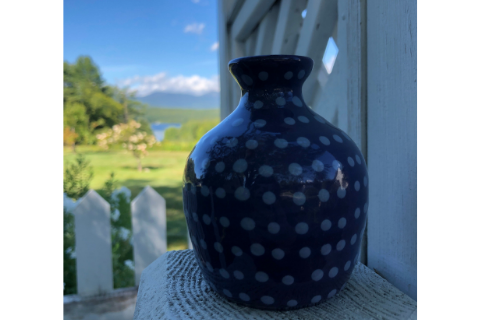 Mini Blue Polka Dot Vase by Lacey Pots