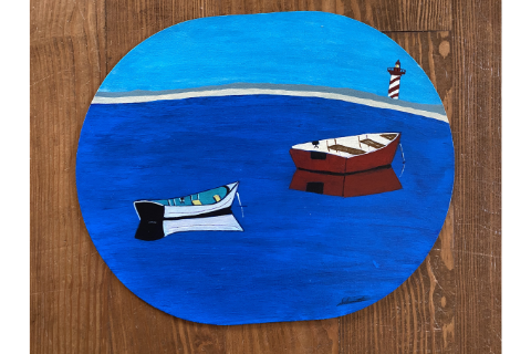 Rowboats Placemat by Sandra Smith