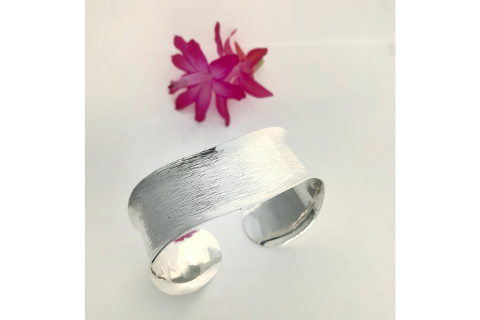 Ellis River: Sterling Silver Textured Bracelet Wide