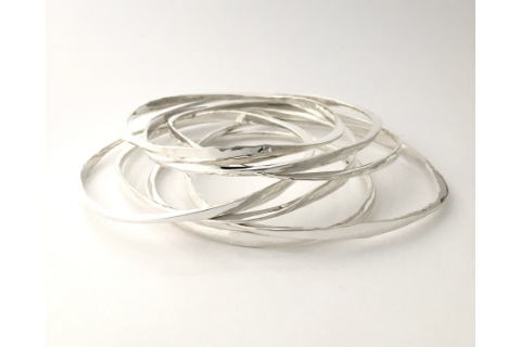 Forged Sterling Silver Bangle
