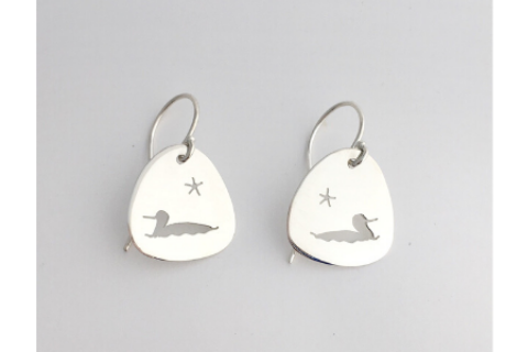 Loon and Star: Sterling Silver Earrings