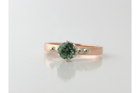 Kezar Gorge: Maine Blue Green Tourmaline Rose and White Gold Ring