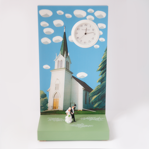 Small Church Wedding Clock by Pascale Judet