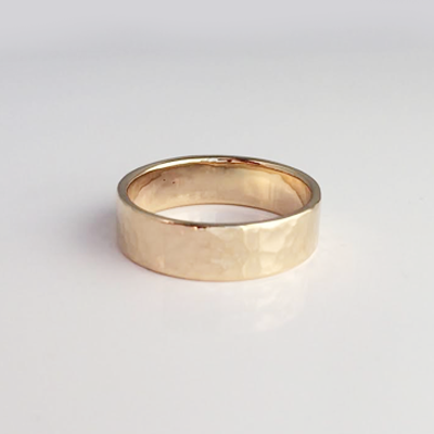 Perfectly Puddled14k Hammered 6mm Ring Size 4.5-7.5