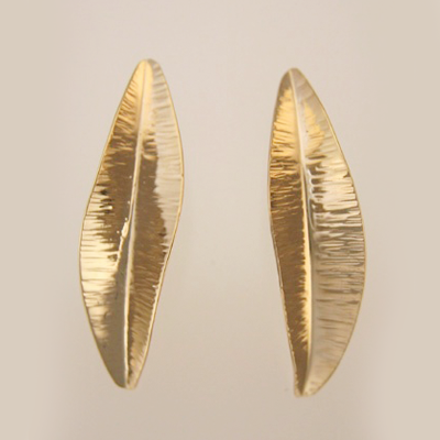 Small Feather Earrings in 14k Yellow Gold