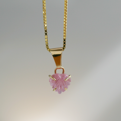Carved Heart: Maine Pink Tourmaline 14K Gold Pendant
