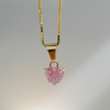 Pink Tourmaline Sea Shell Necklace in 14K Yellow Gold