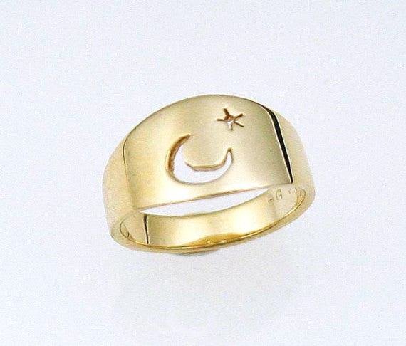 Luna: Moon and Star Cut-Out Ring Size 8-11