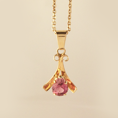 Blushing Pink Tourmaline Pendant in 14k Yellow Gold