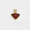 Triangle Pink Tourmaline Cabochon  Pendant Bezel Set in 14k Gold