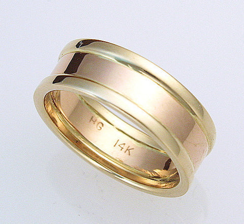 Contemporary 14k  Two-Tone 7mm Ring Size 8-11