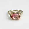 Summer Sunsets: Maine Bi-Color Peach and Rose Tourmaline Ring Set in 14K White Gold