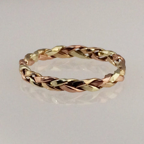 Intertwined Trilogy: 14k Tri-Color Braided 2.5mm Ring Size 8-11