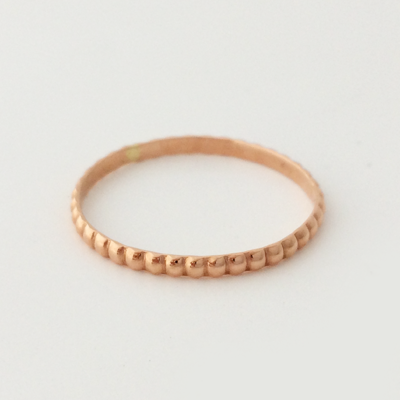 First Kiss: 14k Gold Stackable 1mm Beaded Ring  Size 4.5-7.5