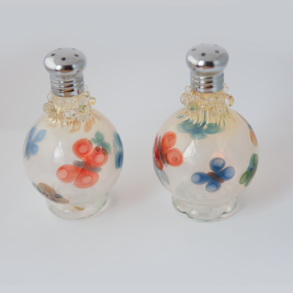 Red, Blue & Yellow Flower Glass Salt & Pepper Shaker Set by Glass Act