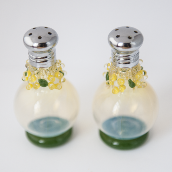 Yellow Flowers Glass Salt & Pepper Shaker Set by Glass Act