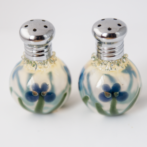 Blue Flower Glass Salt & Pepper Shaker Set by Glass Act