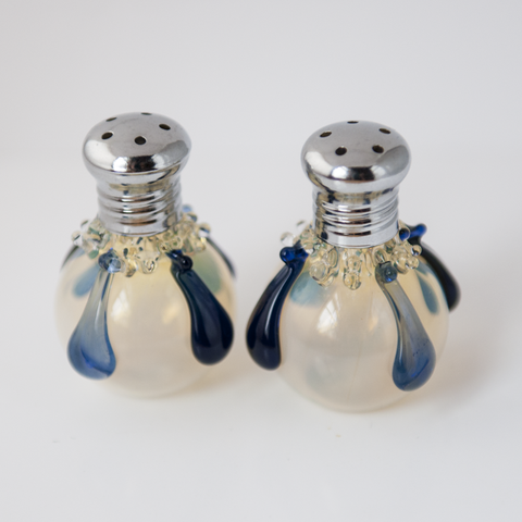 Blue Droplets Glass Salt & Pepper Shaker Set by Glass Act