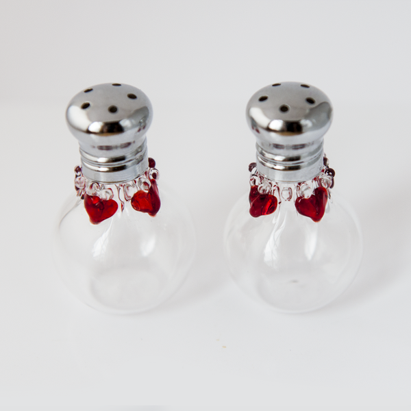 Red Hearts Glass Salt & Pepper Shaker Set by Glass Act