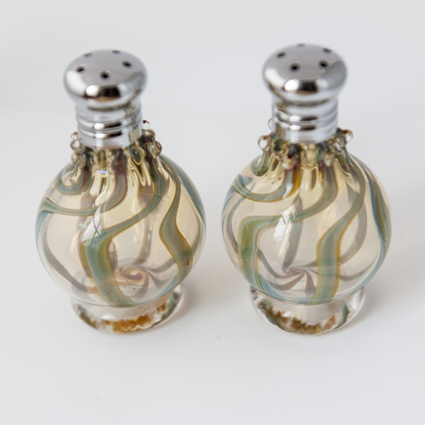 Green Swirl Glass Salt & Pepper Shaker Set by Glass Act (large)