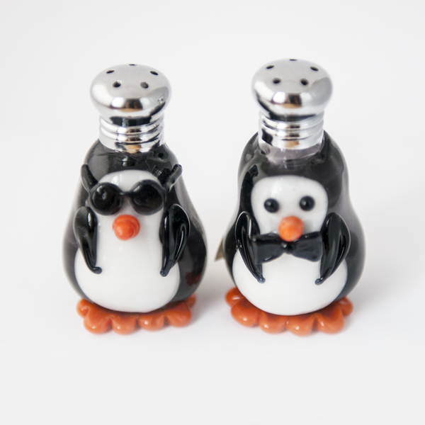 Penquin Salt & Pepper Shaker Set by Lucky Duck Glass