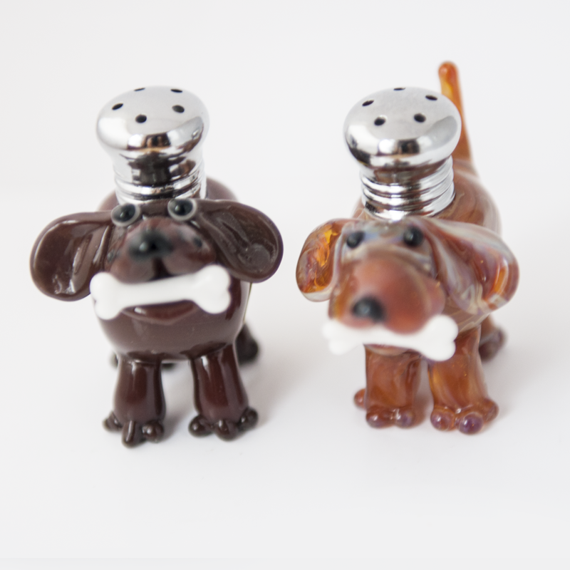 Dogs with Bones Salt & Pepper Shaker Set by Lucky Duck Glass