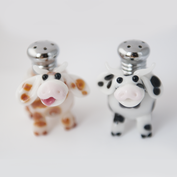 Cow Salt & Pepper Shaker Set by Lucky Duck Glass