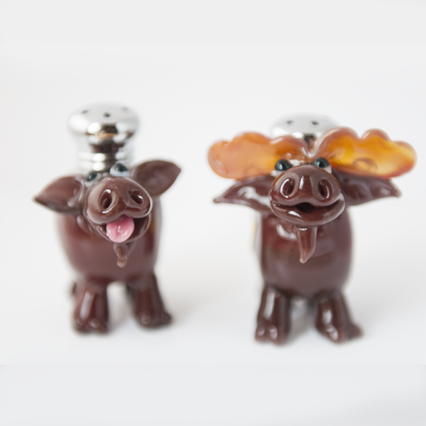Moose Salt & Pepper Shaker Set by Lucky Duck Glass