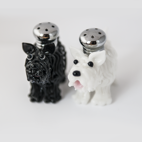 Scottie & Westie Salt & Pepper Shaker Set by Lucky Duck Glass