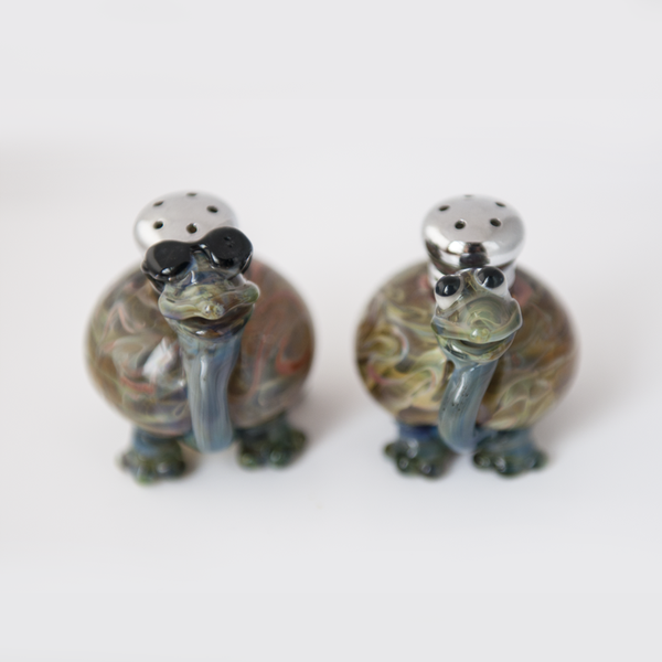 Turtles Salt & Pepper Shaker Set by Lucky Duck Glass