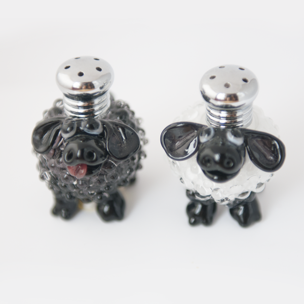 Black & White Sheep Salt & Pepper Shaker set by Lucky Duck Glass
