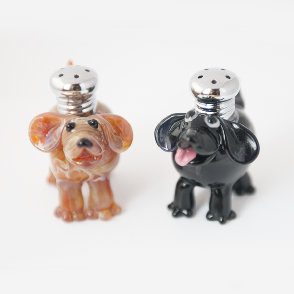 Dogs Salt & Pepper Shaker Set by Lucky Duck Glass