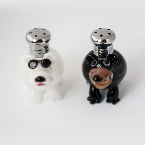 Bears Salt & Pepper Shaker Set by Lucky Duck Glass