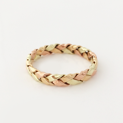 Intertwined Trilogy: 14k Tri-Color Braided 4mm Ring Size 8-11