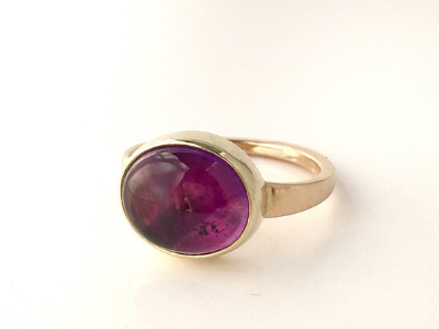 4th of July in Sweden: Maine Amethyst Ring in 14k Yellow Gold