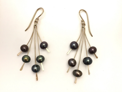 Spray of Black Pearl: 14k Gold Earrings