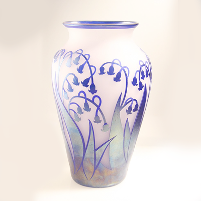 Lilies of The Valley Glass Vase by Joseph Morel, Zellique Art Glass