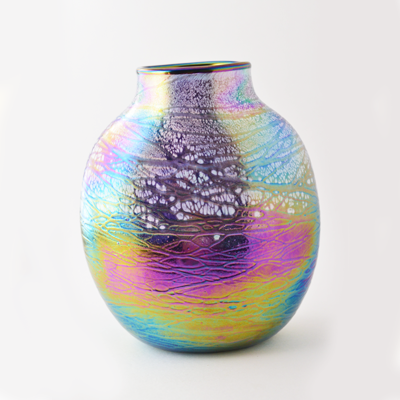 Purple Luster Oval Glass Vase by Tom Stoenner