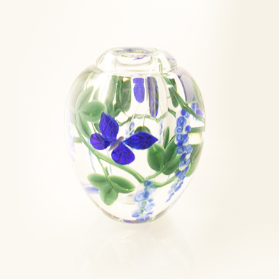 Blue Butterfly and Wisteria Glass Vase by Steven Lundberg