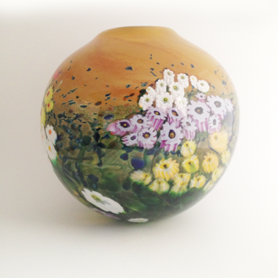 Meadow Flowers Hand Blown Glass Vase by Shawn Messenger